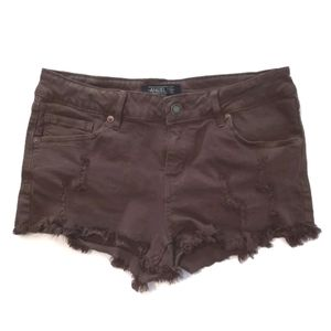 Angel Kiss Distressed Olive Green Denim Shorts